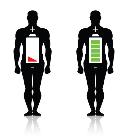 human body high low battery isolated