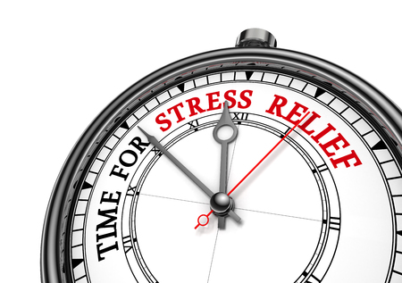 Time for stress relief motivation clock, isolated on white background