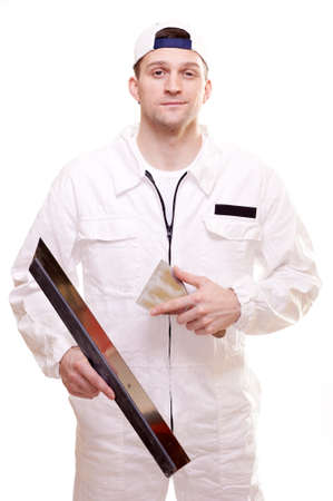 Portrait of a plasterer isolated on white