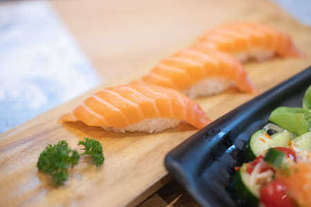 Photo for Close up of sushi with salmon. Selective focus. - Royalty Free Image