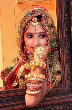 Girl in traditional dress taking part in Desert Festival, Jaisalmer, Rajasthan, India