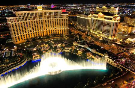 Fountain show at Bellagio hotel and casino at night, Las Vegas, Nevada, USA