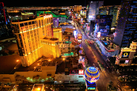 Aerial view of Las Vagas strip at night, Nevada, USA