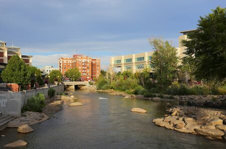 Truckee river in downtown Reno, Nevada, USA