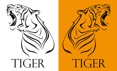 Illustration pour tattoo tiger logotype - image libre de droit