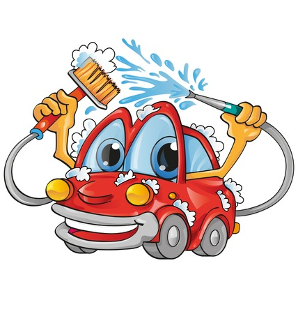 Illustration for cartoon car wash - Royalty Free Image