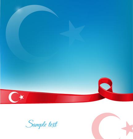 Illustration pour turkey ribbon flag on background  - image libre de droit