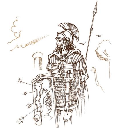 roman warrior hand draw on background