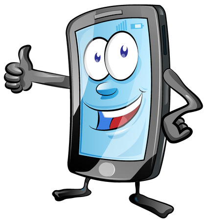 fun mobile phone cartoon with  thumbs up