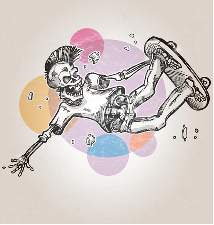 Illustration pour skeleton skater  on abstract retro background - image libre de droit