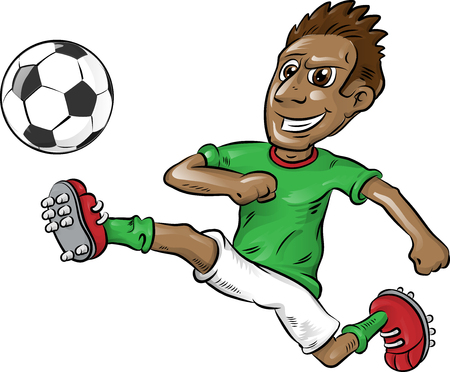 Illustration pour fun nigerian soccer player cartoon isolated on white - image libre de droit