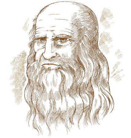 Illustration pour Hand drawn vector portrait. Leonardo Da Vinci - image libre de droit