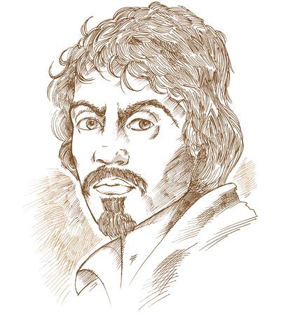 Illustration pour Hand drawn vector portrait.Caravaggio - image libre de droit