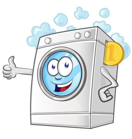 Laundry service cartoon with coins. vector illustrator