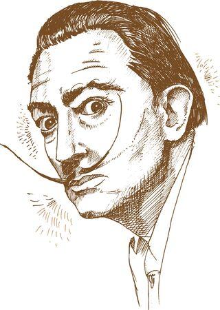 Illustration pour hand drawn portrait of salvador dali. illustration - image libre de droit