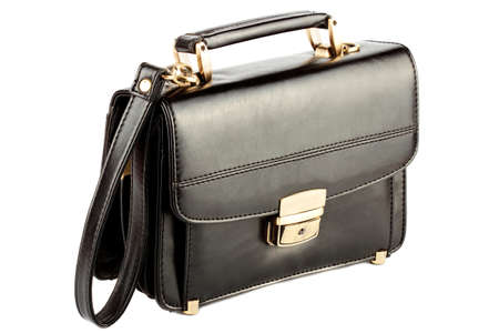 Mans black leather business bag on the white background