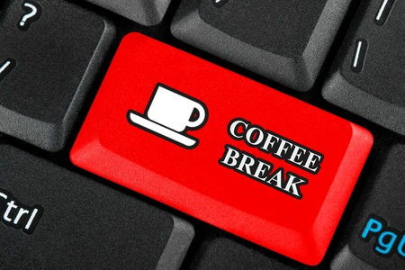 Red Coffee break icon button on a keyboard