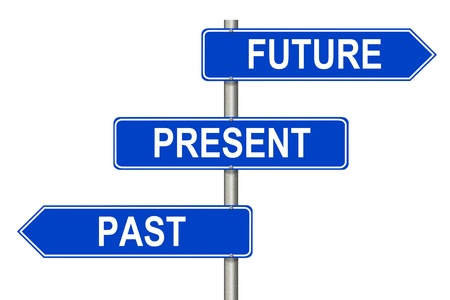 Past Present Future traffic sign on a white background