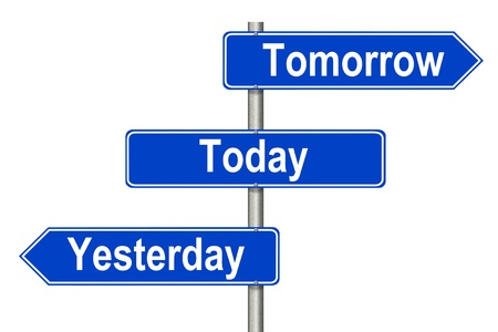 Yesterday Tomorow Today traffic sign on a white background