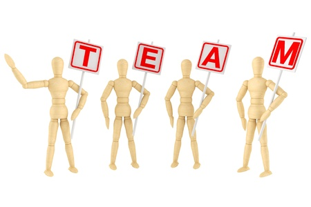 Teamwork Concept. Wooden mannequin with Team Banner on a white background