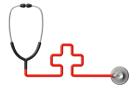 Medicine concept. Cross-shaped stethoscope on a white background