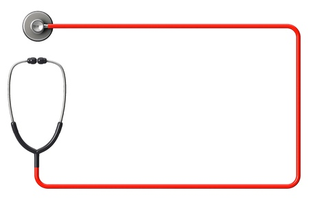 Doctor's stethoscope in red as frame on a white background with space for text