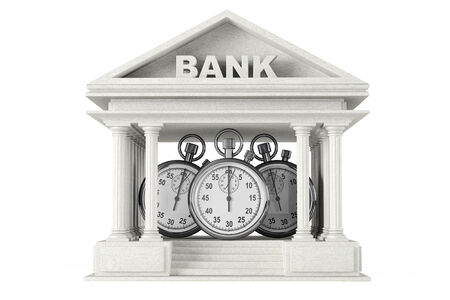 Time Save Concept. Bank Building with stopwatch on a white background