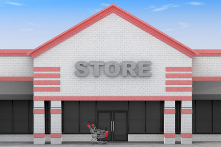 3d Large Store Building on a blue sky background