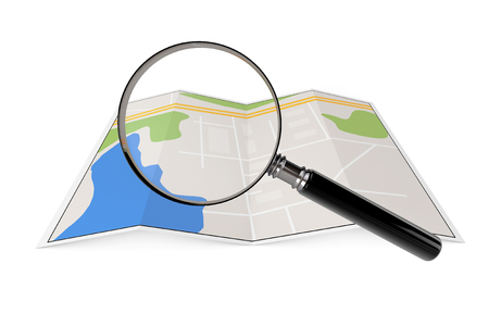Abstract Paper Map with Magnifying Glass on a white background