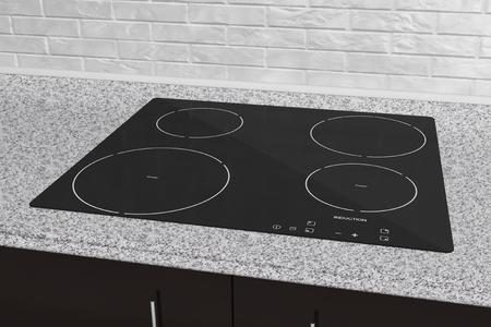 Photo pour Induction cooktop stove with kitchen furniture - image libre de droit