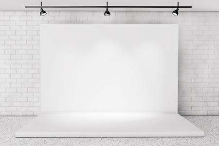 Foto de White Backdrop Stage in Room with Brick Wall extreme closeup - Imagen libre de derechos
