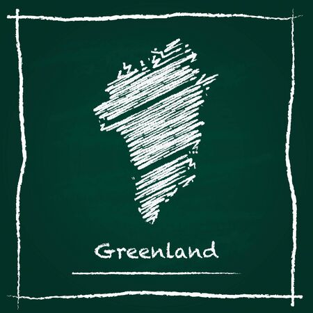 Greenland outline vector map hand drawn with chalk on a green blackboard. Chalkboard scribble in childish style. White chalk texture on green background.