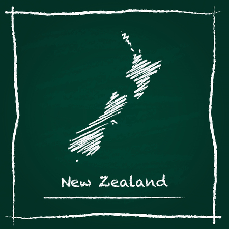 New Zealand outline vector map hand drawn with chalk on a green blackboard. Chalkboard scribble in childish style. White chalk texture on green background.