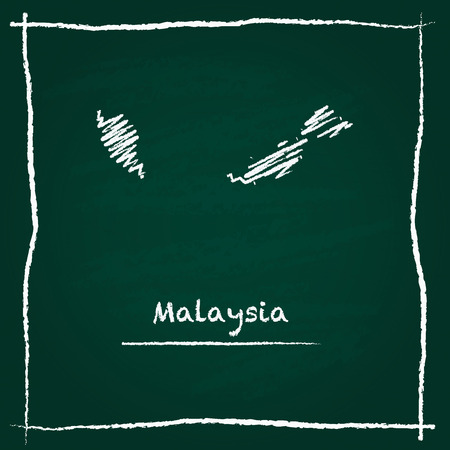 Malaysia outline vector map hand drawn with chalk on a green blackboard. Chalkboard scribble in childish style. White chalk texture on green background.
