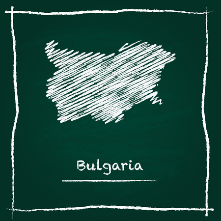Bulgaria outline vector map hand drawn with chalk on a green blackboard. Chalkboard scribble in childish style. White chalk texture on green background.