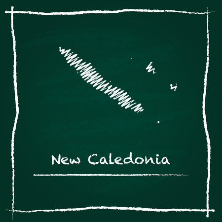 New Caledonia outline vector map hand drawn with chalk on a green blackboard. Chalkboard scribble in childish style. White chalk texture on green background.