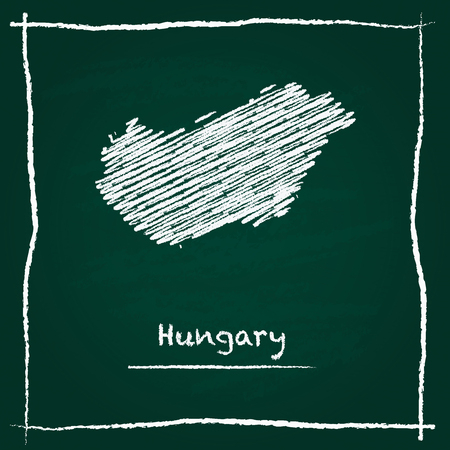 Hungary outline vector map hand drawn with chalk on a green blackboard. Chalkboard scribble in childish style. White chalk texture on green background.