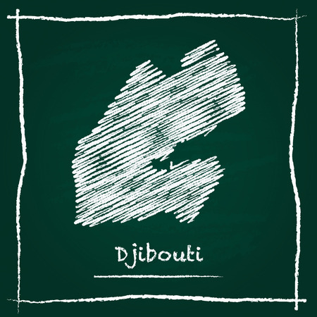 Djibouti outline vector map hand drawn with chalk on a green blackboard. Chalkboard scribble in childish style. White chalk texture on green background.