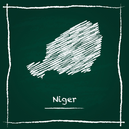 Niger outline vector map hand drawn with chalk on a green blackboard. Chalkboard scribble in childish style. White chalk texture on green background.