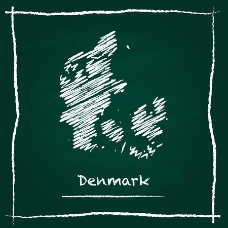 Denmark outline vector map hand drawn with chalk on a green blackboard. Chalkboard scribble in childish style. White chalk texture on green background.