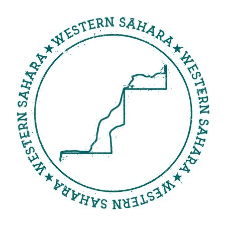 Western Sahara vector map  Retro vintage insignia with country map