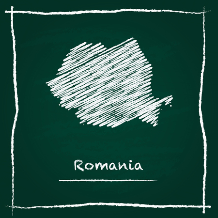 Romania outline vector map hand drawn with chalk on a green blackboard. Chalkboard scribble in childish style. White chalk texture on green background.