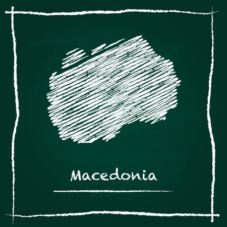 Macedonia, the Former Yugoslav Republic Of outline vector map hand drawn with chalk on a green blackboard. Chalkboard scribble in childish style. White chalk texture on green background.
