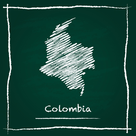 Colombia outline vector map hand drawn with chalk on a green blackboard. Chalkboard scribble in childish style. White chalk texture on green background.