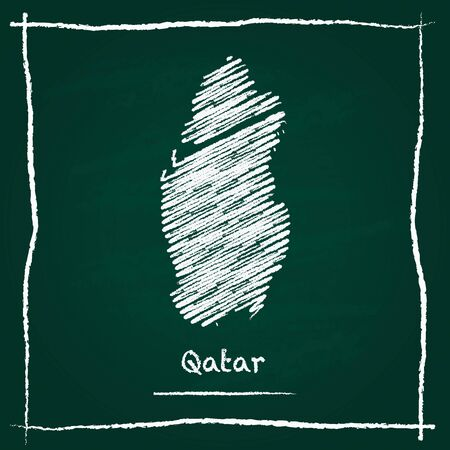 Qatar outline vector map hand drawn with chalk on a green blackboard. Chalkboard scribble in childish style. White chalk texture on green background.