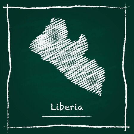 Liberia outline vector map hand drawn with chalk on a green blackboard. Chalkboard scribble in childish style. White chalk texture on green background.