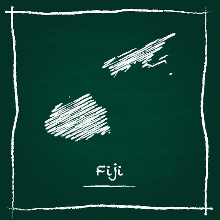 Fiji outline vector map hand drawn with chalk on a green blackboard. Chalkboard scribble in childish style. White chalk texture on green background.