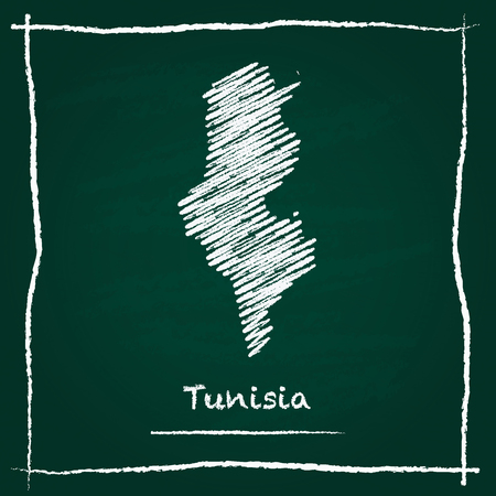 Tunisia outline vector map hand drawn with chalk on a green blackboard. Chalkboard scribble in childish style. White chalk texture on green background.
