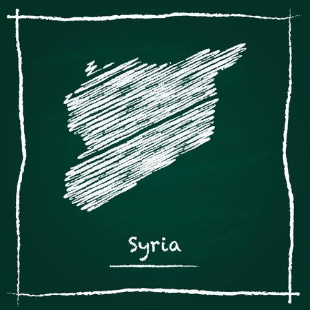 Syrian Arab Republic outline vector map hand drawn with chalk on a green blackboard. Chalkboard scribble in childish style. White chalk texture on green background.