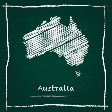 Australia outline vector map hand drawn with chalk on a green blackboard. Chalkboard scribble in childish style. White chalk texture on green background.